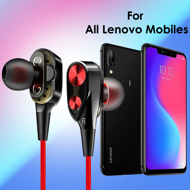 Boom 2 4D Earphone Deep Bass Stereo Wired Headphone With Mic For All Lenovo smartphones (Black/Red)