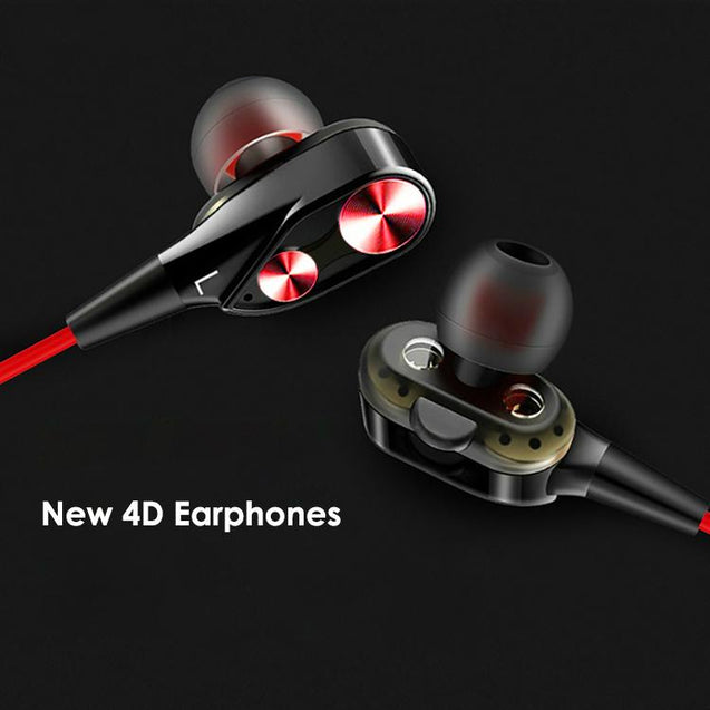 PTron Boom 2 4D Earphone Deep Bass Wired Headphone With Mic For All Oppo Smart Phones (Black/Red)