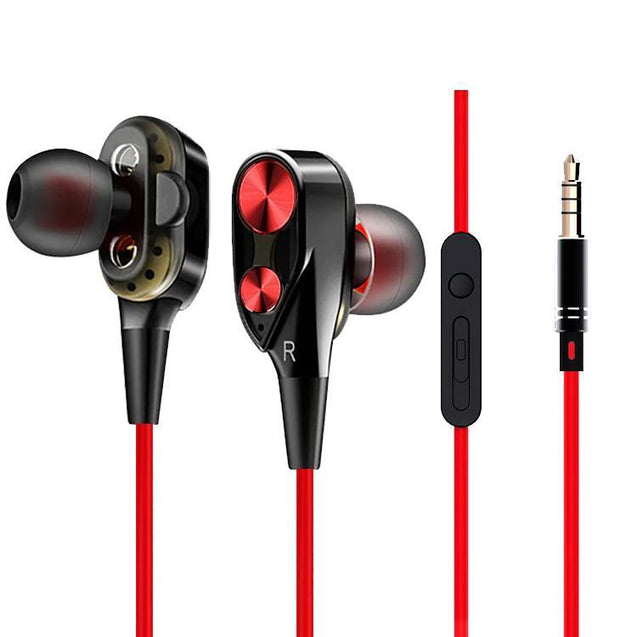 Boom 2 4D Earphone Stereo Sport Wired Headphone With Mic For Huawei P20 Lite (Black/Red)