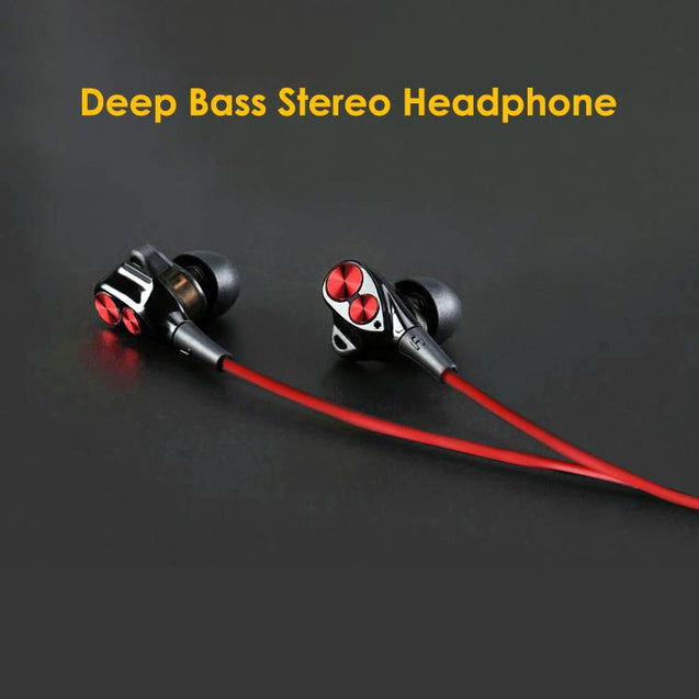 Boom 2 4D Earphone Deep Bass Stereo Sport Wired Headphone with Mic For Huawei Honor V10 (Black/Red)