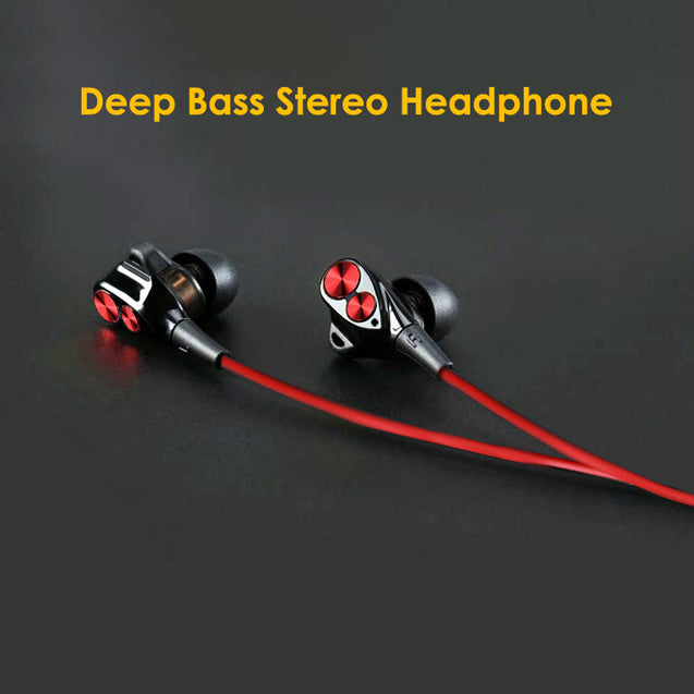 PTron Boom 2 4D Earphone Deep Bass Stereo Wired Headphone for All Smartphones (Black/Red)