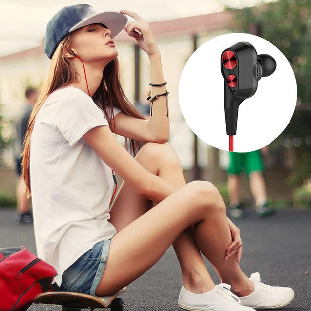 PTron Boom 2 4D Earphone Deep Bass Wired Headphone With Mic For Oppo F7 (Black/Red)