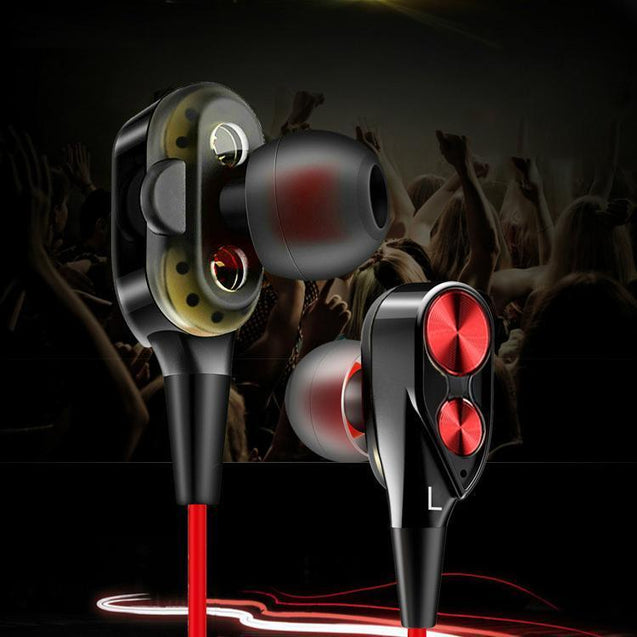 PTron Boom 2 4D Earphone Deep Bass Stereo Wired Headphone For All Tecno Smartphones (Black/Red)