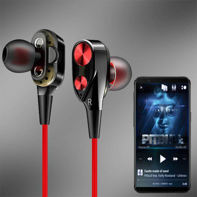 Boom Evo 4D Earphone Stereo Sport Wired Headphone With Mic For Huawei P20 Lite (Black/Red)