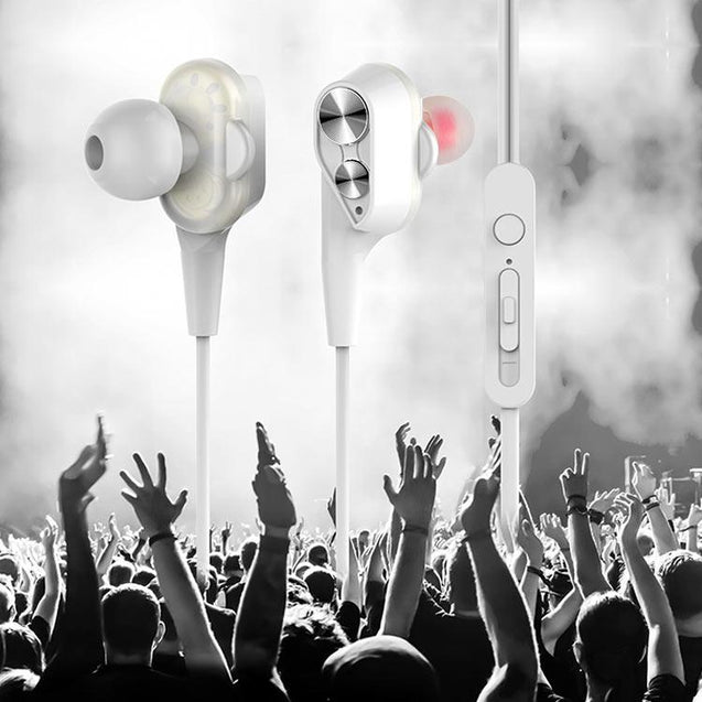 PTron Boom 2 4D Earphone Deep Bass Stereo Wired Headphone With Mic For Gionee S6s (White/Silver)