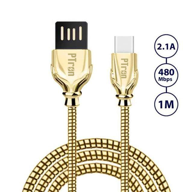 PTron Falcon Pro 2.1A USB To Type C Cable Metal Data Cable For All Type C Smartphones (Gold)