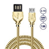 PTron Falcon Pro 2.1A USB To Micro USB Cable Metal Data Cable For All Android Smartphones (Gold)