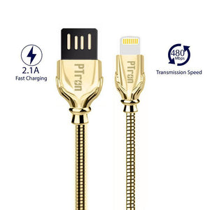 PTron Falcon Pro 2.1A USB To Lightning USB Cable Metal Data Cable For All iOS Smartphones (Gold)