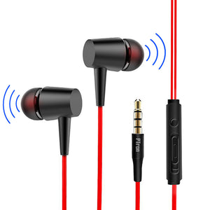 PTron Alpha In-Ear Headset With Noise Cancellation and 3.5mm Jack For All Smartphones (Black/Red)
