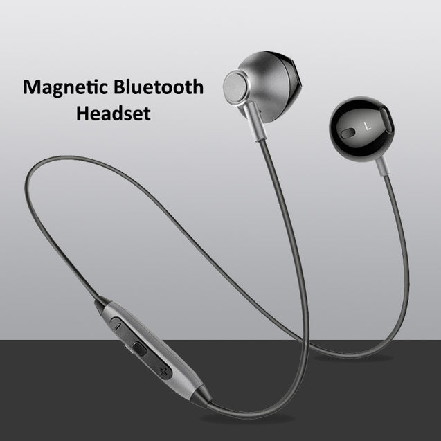 PTron InTunes Magnetic Bluetooth Headset With Mic For Huawei P20 Lite (Grey/Black)