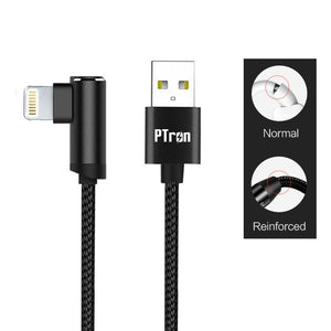 PTron Solero Lite 2A Lightning USB Data Cable L Shape Charging Cable For All iOS Smartphones (Black)