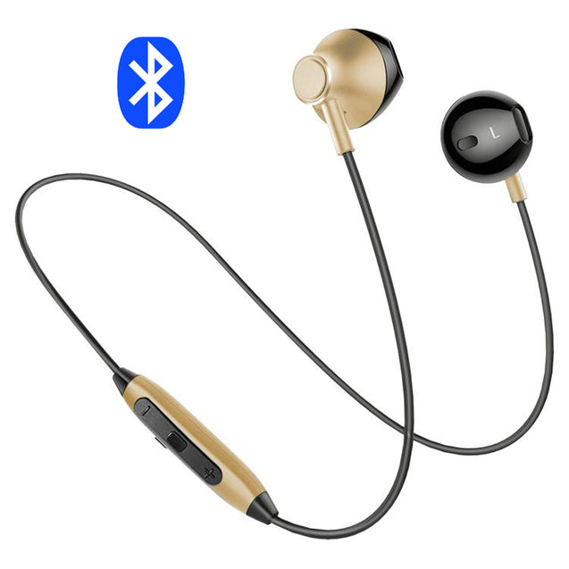 PTron InTunes Magnetic Bluetooth Headset With Mic For All Smartphones (Gold/Black)