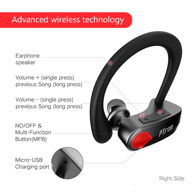 PTron Twins Pro Wireless In-Ear Bluetooth Headset With Mic For All Smartphones (Black)