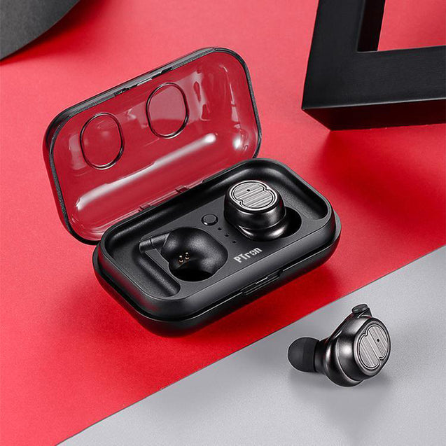 PTron Spunk Bluetooth Headphones Stereo Mini Earbuds With Powercase For All Smartphones (Black)