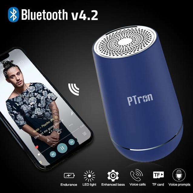 Buy PTron Sonor Pro Bluetooth Speaker Blue, Get Solero Lite 2A Micro USB Charging Cable Free