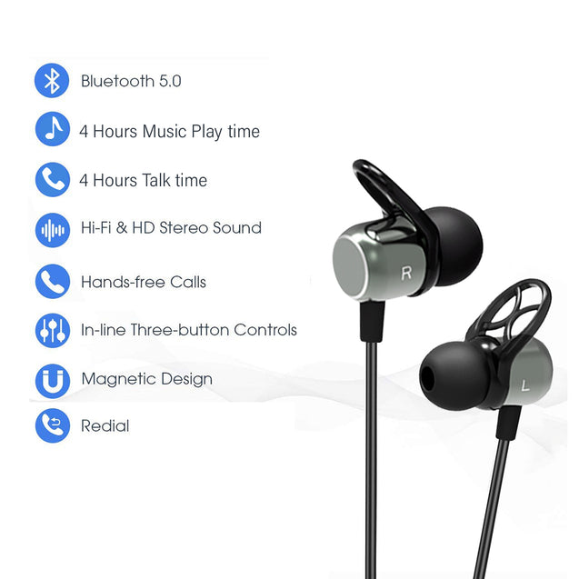 pTron Avento Plus Bluetooth 5.0 In-Ear Magnetic Headphones for All Redmi Smartphones - (Grey/Black)