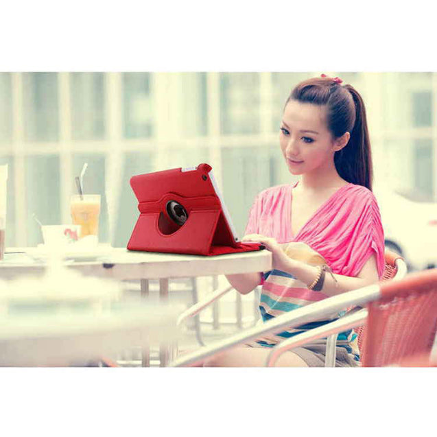 PTron Full 360 Rotating Stand Cover Case for Apple iPad Air iPad 5 Red