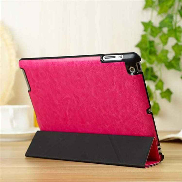 PTron Luxury Transformable Stand Crazy Horse PU Leather Flip Cover Case for iPad Air iPad 5 Hot Pink