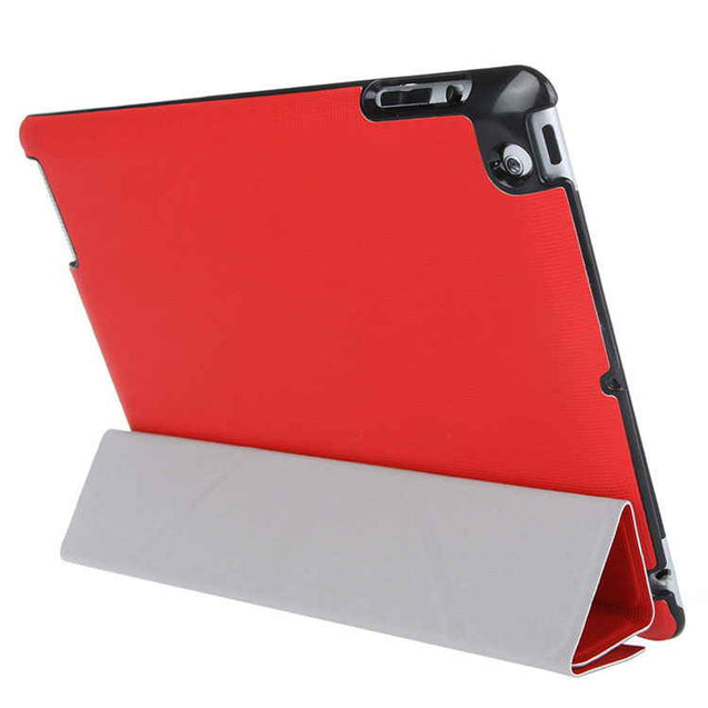PTron Luxury Transformable Stand Crazy Horse PU Leather Flip Cover Case for iPad Air iPad 5 Red