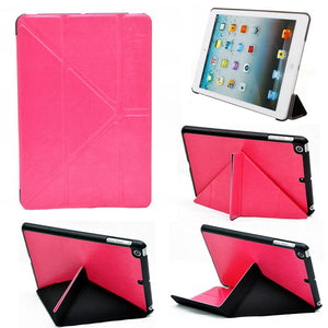 PTron Transformable Stand Crazy Horse PU Leather Flip Cover Case for iPad Mini Mini 2 Hot Pink