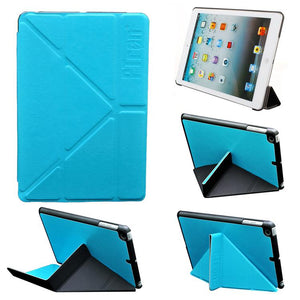 PTron Transformable Stand Crazy Horse Flip Cover Case for iPad Mini Mini 2 Sky Blue