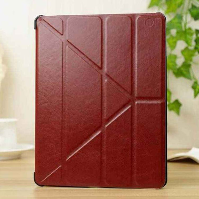 PTron Luxury Transformable Stand Crazy Horse PU Leather Flip Cover Case for iPad Mini Mini 2 Brown