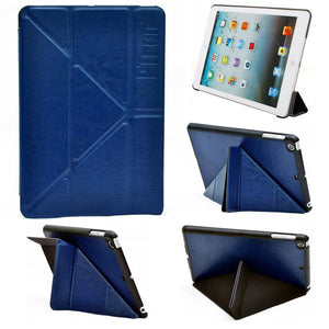PTron Transformable Stand Crazy Horse Flip Cover Case for iPad Mini Mini 2 Deep Blue