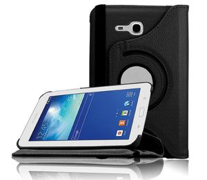 PTron Full 360 Rotating Stand Cover Case for Samsung Galaxy TAB 3 Neo T111 Black