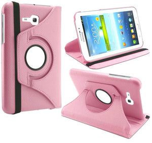 PTron Full 360 Rotating Stand Cover Case for Samsung Galaxy TAB 3 Neo T111 Light Pink