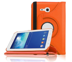 PTron Full 360 Rotating Stand Cover Case for Samsung Galaxy TAB 3 Neo T111 Orange