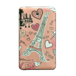 Samsung Galaxy Tab 4 T230 7 Inch Back Cover Eiffel Tower Printed Soft Back Cover Case Pink