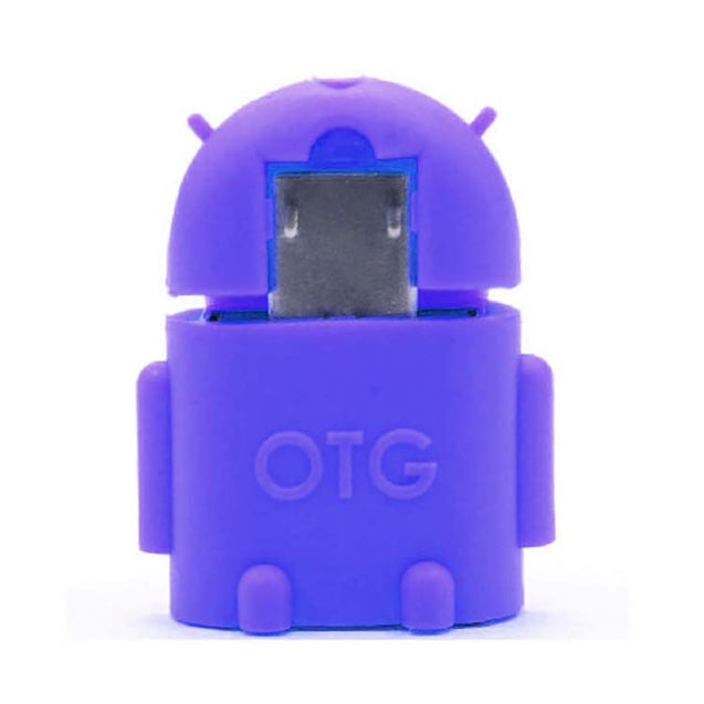 Universal Micro USB OTG Adapter Android Shaped OTG Connector For Tablets and Mobiles Blue