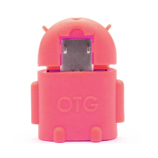 universal micro usb otg adapter android shaped otg connector for tablets and mobiles Pink