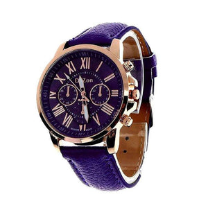 DaZon Stylish Ladies Wrist Watch Analog Dial With Leather Strap Wrist Watch (Purple)