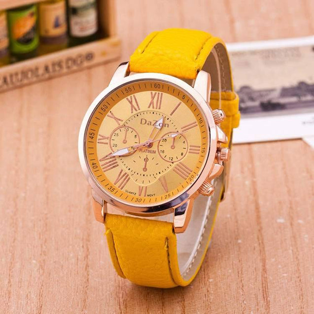 DaZon Stylish Ladies Wrist Watch Analog Dial With Leather Strap Wrist Watch (Yellow)