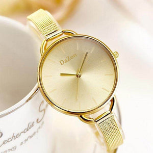 DaZon Arc New Stylish Ladies Watches With Bracelet Strap Analog Dial Wrist Watch (Gold)