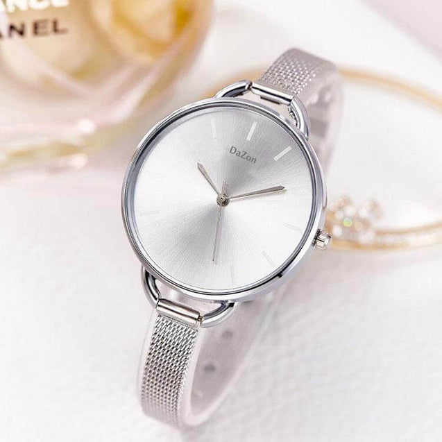 DaZon Arc New Stylish Ladies Watch With Bracelet Strap Analog Dial Wrist Watch (Silver)