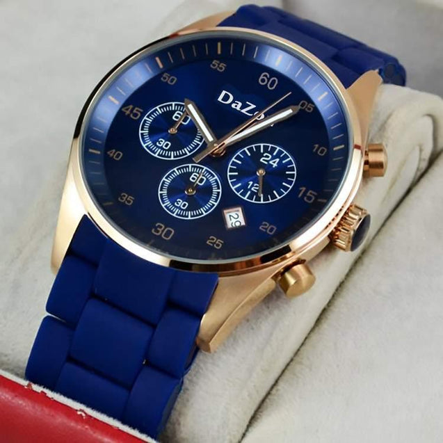 DaZon Strike New Fashion Watches For Men With Silicone strap Quartz 3 Dial Watch (Blue)