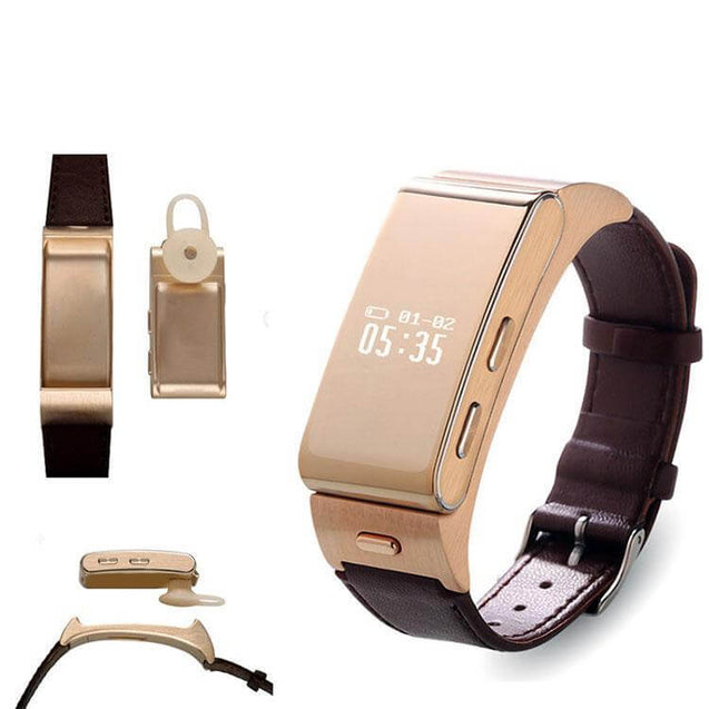 PTron Xoto 7 Bluetooth Smartwatch With Earphone Clock Synchronization For All Smartphones (Gold)