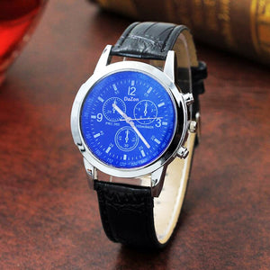 Stylish DaZon Wrist Watch For Men Analog Quartz Three Dial Leather Strap Watch (Black/Blue Glass)