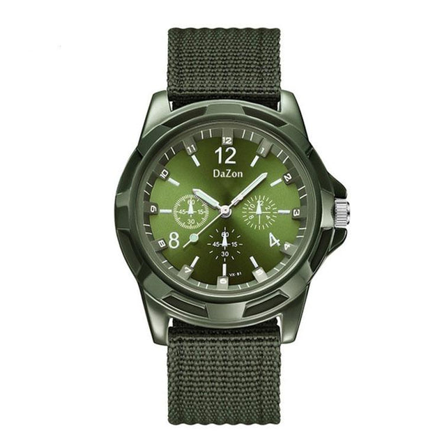DaZon Valor New Stylish Army Wrist Watch For Men Analog Quartz Dial Weave Band Watch (Green)
