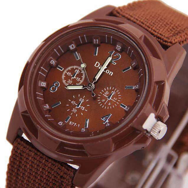 DaZon Valor New Stylish Army Wrist Watch For Men Analog Quartz Dial Weave Band Watch (Brown)