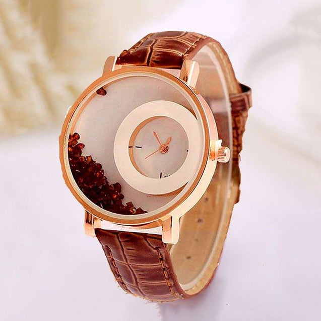 Trendy Ladies Watch Moon Designed With Analog Dial Wrist Watch (Brown)