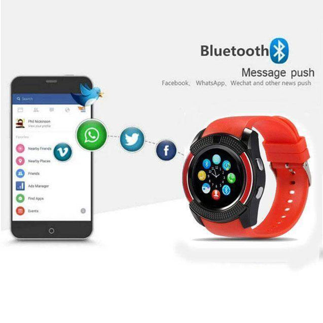 PTron Lure Bluetooth Smart Watch Support TF SIM Card Wearable Watch For All Android Smartphones Red