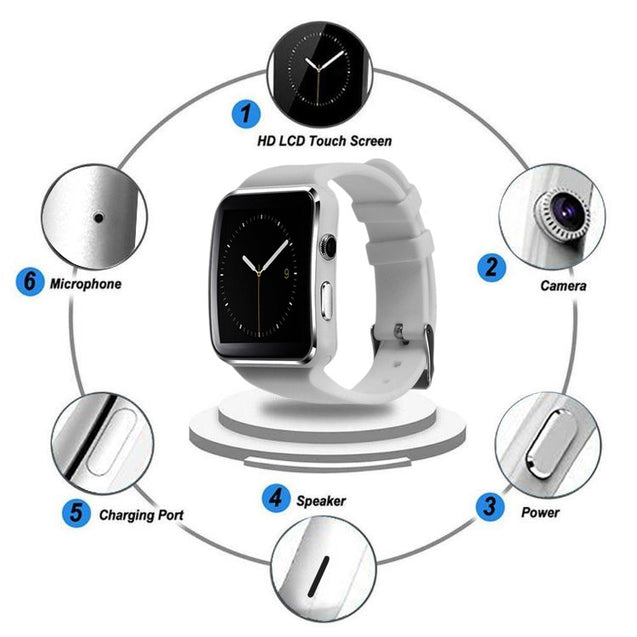 PTron Rhythm Bluetooth Smart Watch (Cam Support) SIM Card Pedometer Wrist Watch For All Smartphones