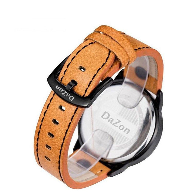 DaZon Combat Stylish Men's Wrist Watch Sports Style Quartz Watch (Brown)