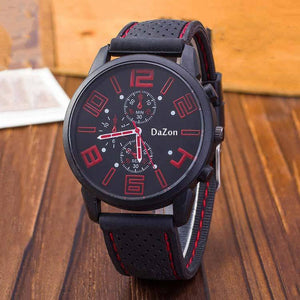 DaZon Whizz Luxury Sports Style Men's Watch Unique Designed With Analog Dial Wrist Watch (Black/Red)