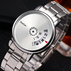 DaZon Orb Turntable Dial Quartz Wrist Watch Men's Fashion Genuine Steel Strap Watch (White)