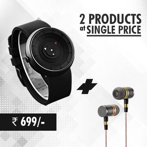 Buy  PTron Aristo In-Ear Headphone ,Get DaZon Arrow  Sports Silicon Wrist Watch With Analog Quartz Free