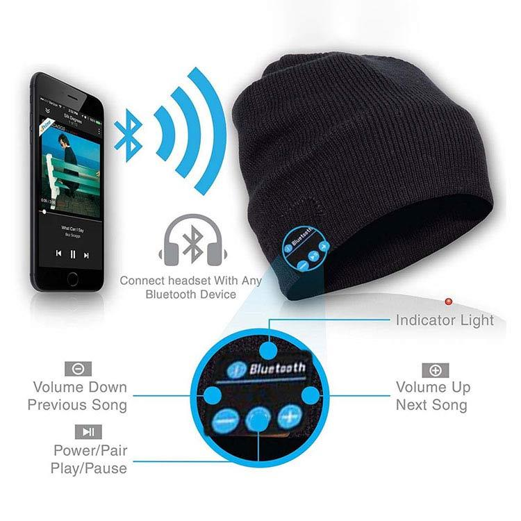 b382915df Soft Warm Wireless Stereo Bluetooth Beanie Smart Cap Headphone With Mic For  Calling And Music Black